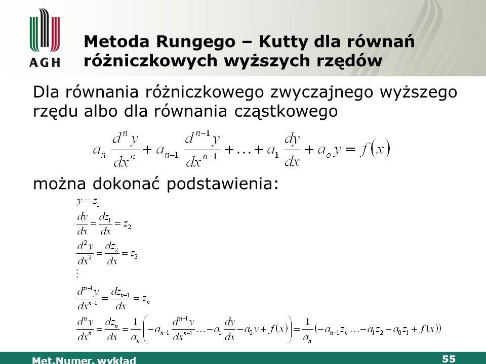 Met.Numer. wykład 55 Metoda Rungego – Kutty dla równań różniczkowych wyższych rzędów Dla równania różniczkowego zwyczajnego wyższego rzędu albo dla ró
