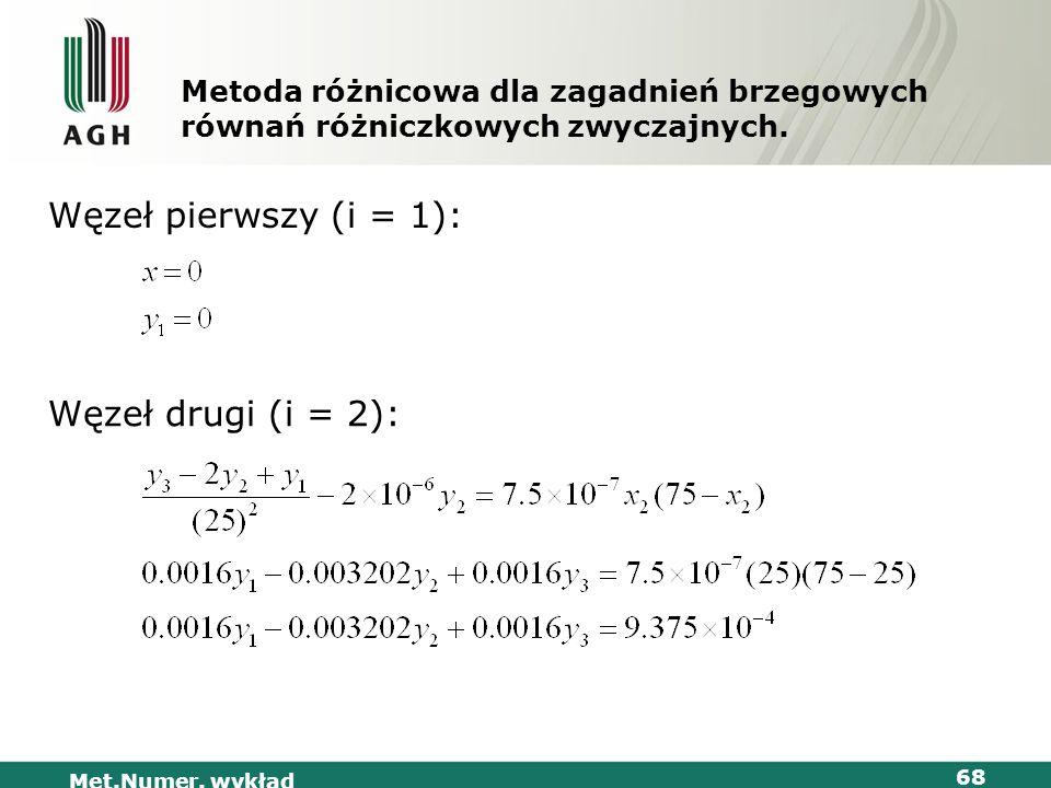 Met.Numer. wykład 68 Metoda różnicowa dla zagadnień brzegowych równań różniczkowych zwyczajnych. Węzeł pierwszy (i = 1): Węzeł drugi (i = 2):