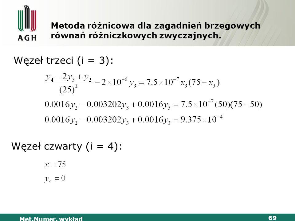 Met.Numer. wykład 69 Metoda różnicowa dla zagadnień brzegowych równań różniczkowych zwyczajnych. Węzeł trzeci (i = 3): Węzeł czwarty (i = 4):