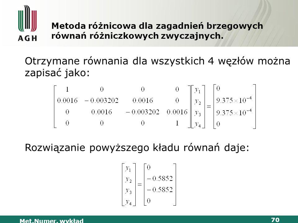 Met.Numer. wykład 70 Metoda różnicowa dla zagadnień brzegowych równań różniczkowych zwyczajnych. Otrzymane równania dla wszystkich 4 węzłów można zapi
