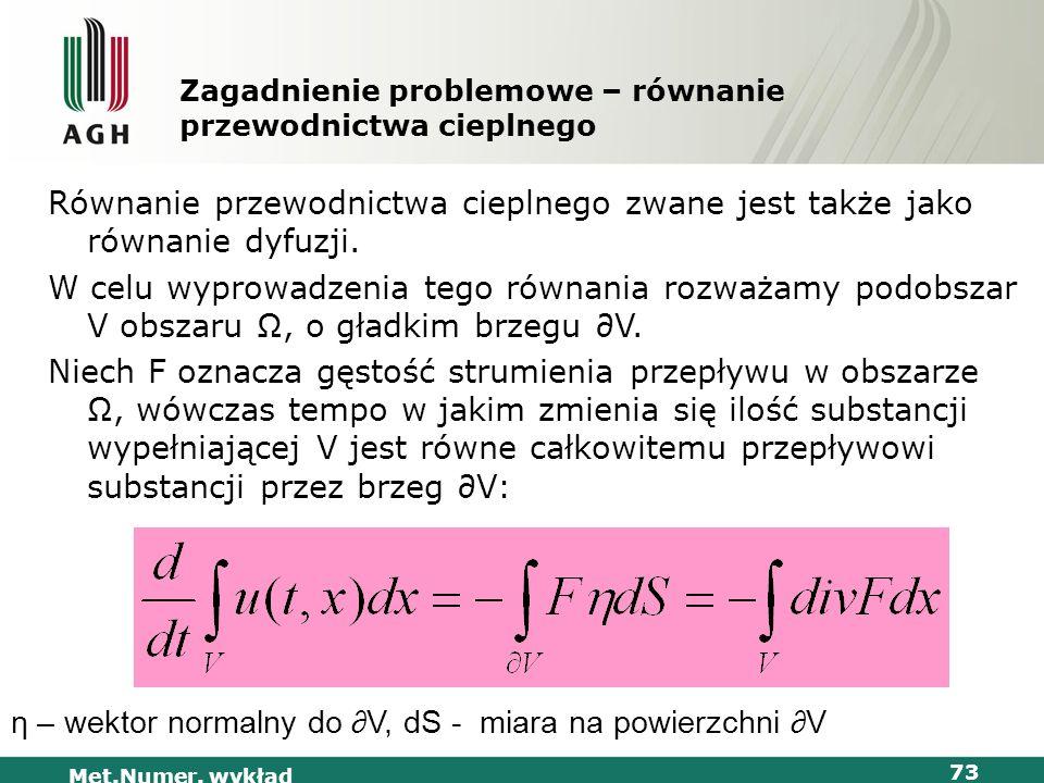 Met.Numer. wykład 73 Zagadnienie problemowe – równanie przewodnictwa cieplnego Równanie przewodnictwa cieplnego zwane jest także jako równanie dyfuzji