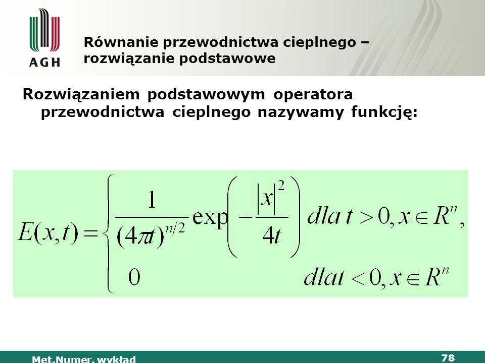 Met.Numer. wykład 78 Równanie przewodnictwa cieplnego – rozwiązanie podstawowe Rozwiązaniem podstawowym operatora przewodnictwa cieplnego nazywamy fun