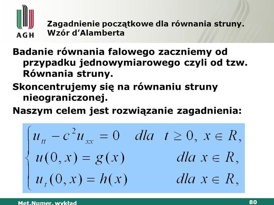 Met.Numer. wykład 80 Zagadnienie początkowe dla równania struny. Wzór dAlamberta Badanie równania falowego zaczniemy od przypadku jednowymiarowego czy
