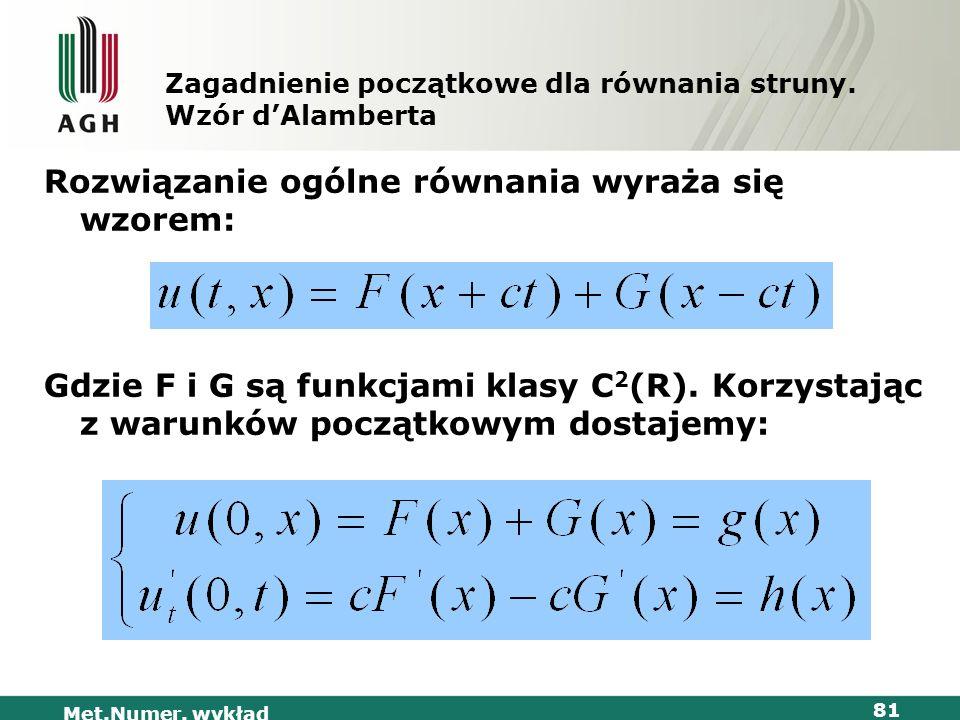 Met.Numer. wykład 81 Zagadnienie początkowe dla równania struny. Wzór dAlamberta Rozwiązanie ogólne równania wyraża się wzorem: Gdzie F i G są funkcja