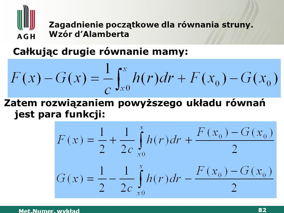 Met.Numer. wykład 82 Zagadnienie początkowe dla równania struny. Wzór dAlamberta Całkując drugie równanie mamy: Zatem rozwiązaniem powyższego układu r