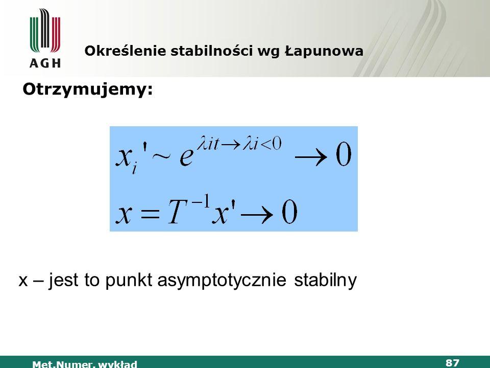 Met.Numer. wykład 87 Określenie stabilności wg Łapunowa Otrzymujemy: x – jest to punkt asymptotycznie stabilny