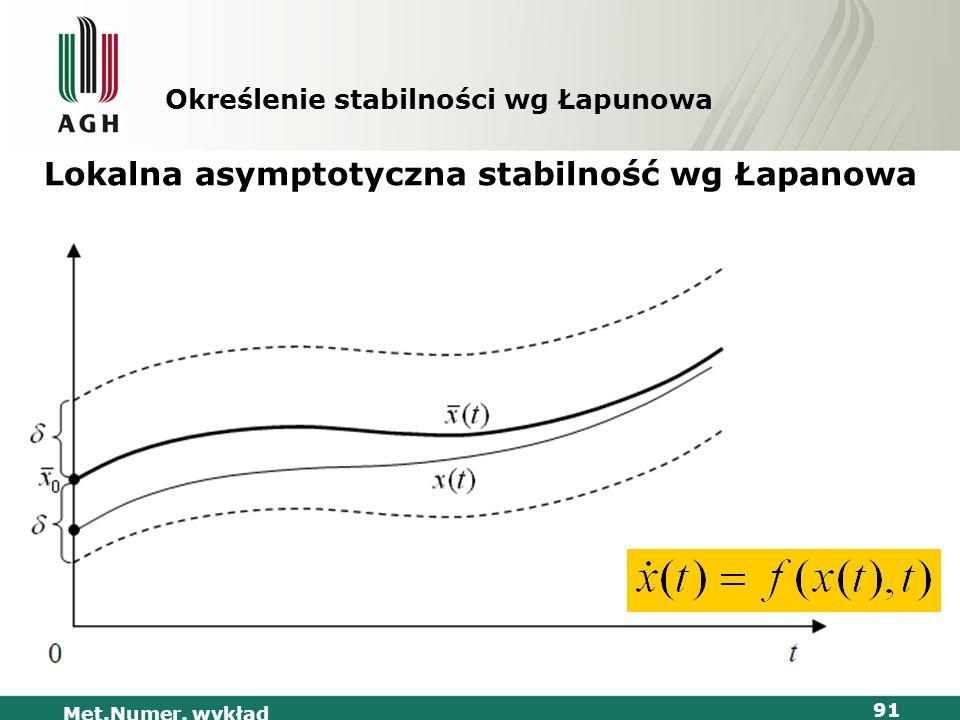Met.Numer. wykład 91 Określenie stabilności wg Łapunowa Lokalna asymptotyczna stabilność wg Łapanowa
