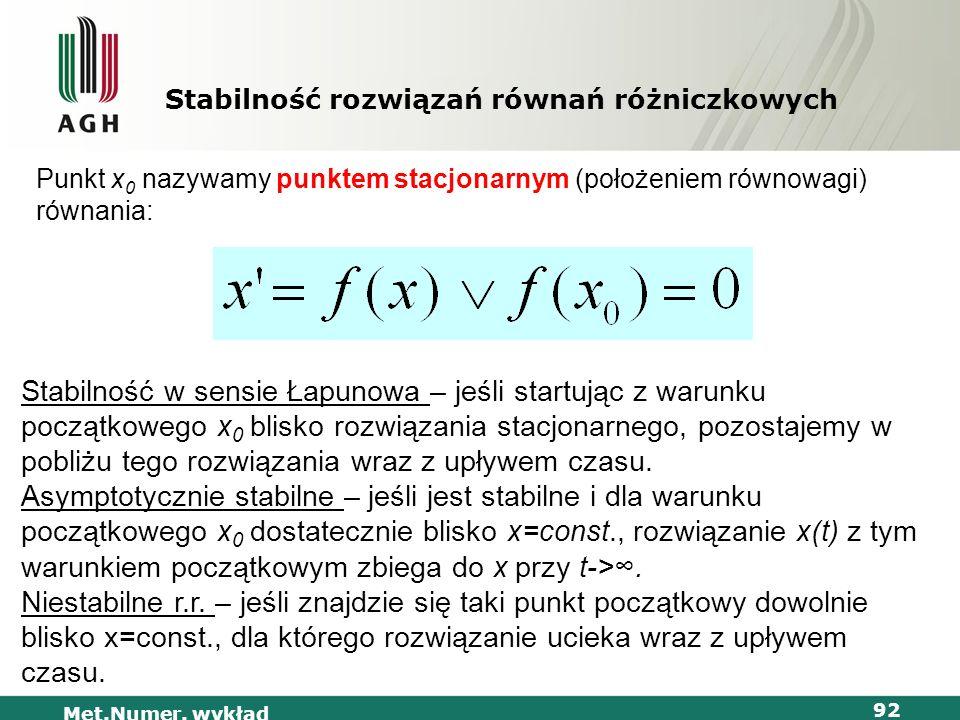 Met.Numer. wykład 92 Stabilność rozwiązań równań różniczkowych Punkt x 0 nazywamy punktem stacjonarnym (położeniem równowagi) równania: Stabilność w s