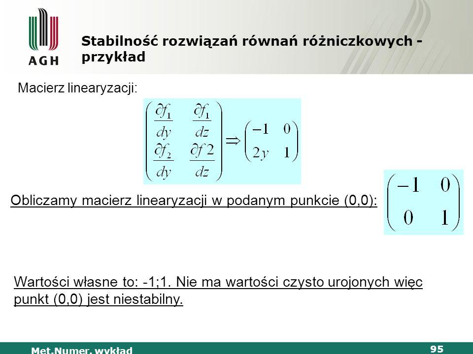 Met.Numer. wykład 95 Stabilność rozwiązań równań różniczkowych - przykład Macierz linearyzacji: Obliczamy macierz linearyzacji w podanym punkcie (0,0)
