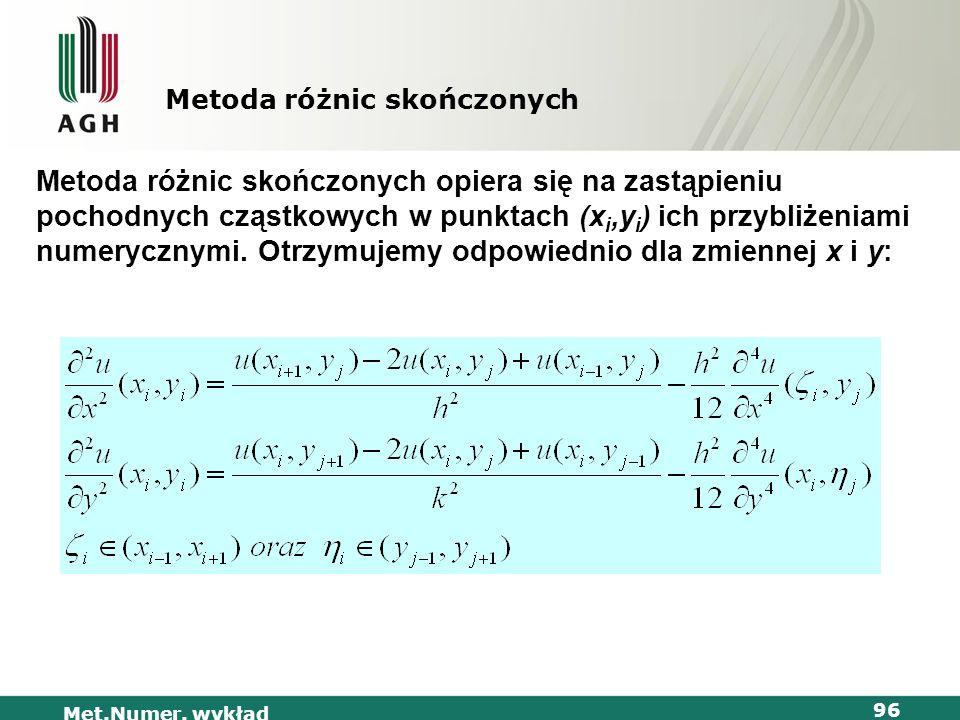 Met.Numer. wykład 96 Metoda różnic skończonych Metoda różnic skończonych opiera się na zastąpieniu pochodnych cząstkowych w punktach (x i,y i ) ich pr