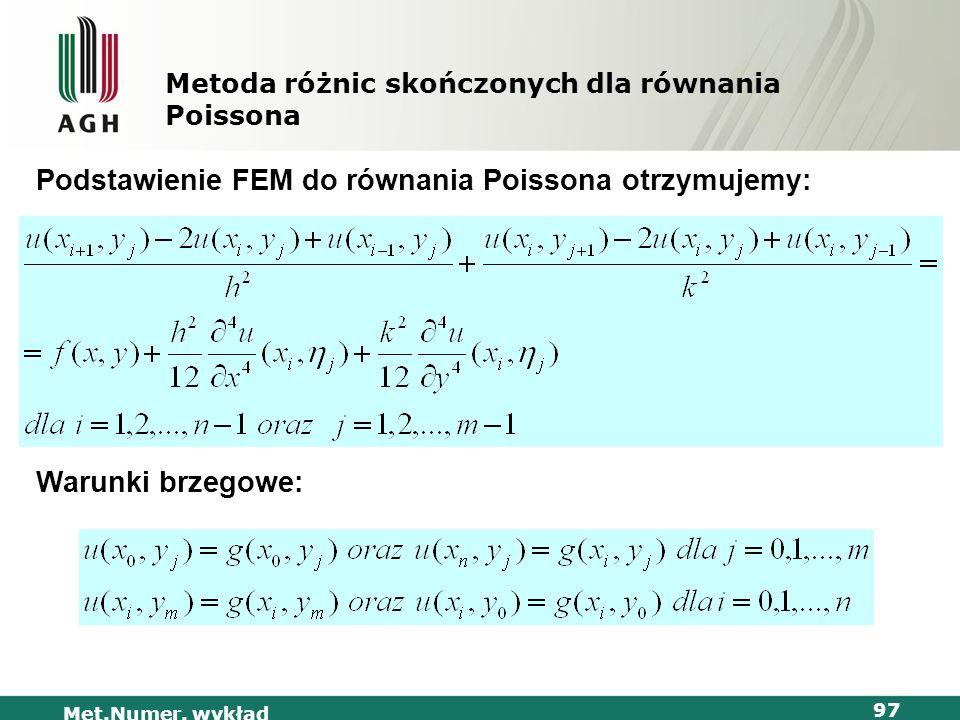 Met.Numer. wykład 97 Metoda różnic skończonych dla równania Poissona Podstawienie FEM do równania Poissona otrzymujemy: Warunki brzegowe: