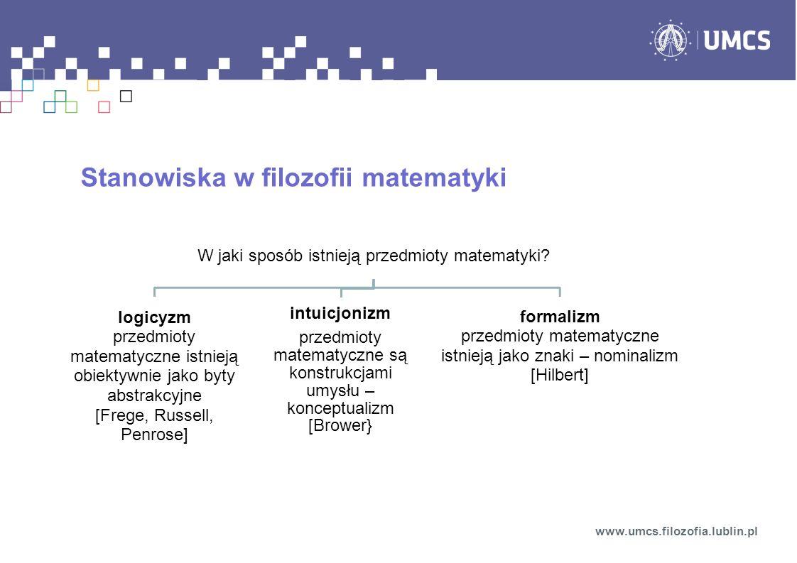 Stanowiska w filozofii matematyki www.umcs.filozofia.lublin.pl W jaki sposób istnieją przedmioty matematyki? logicyzm przedmioty matematyczne istnieją