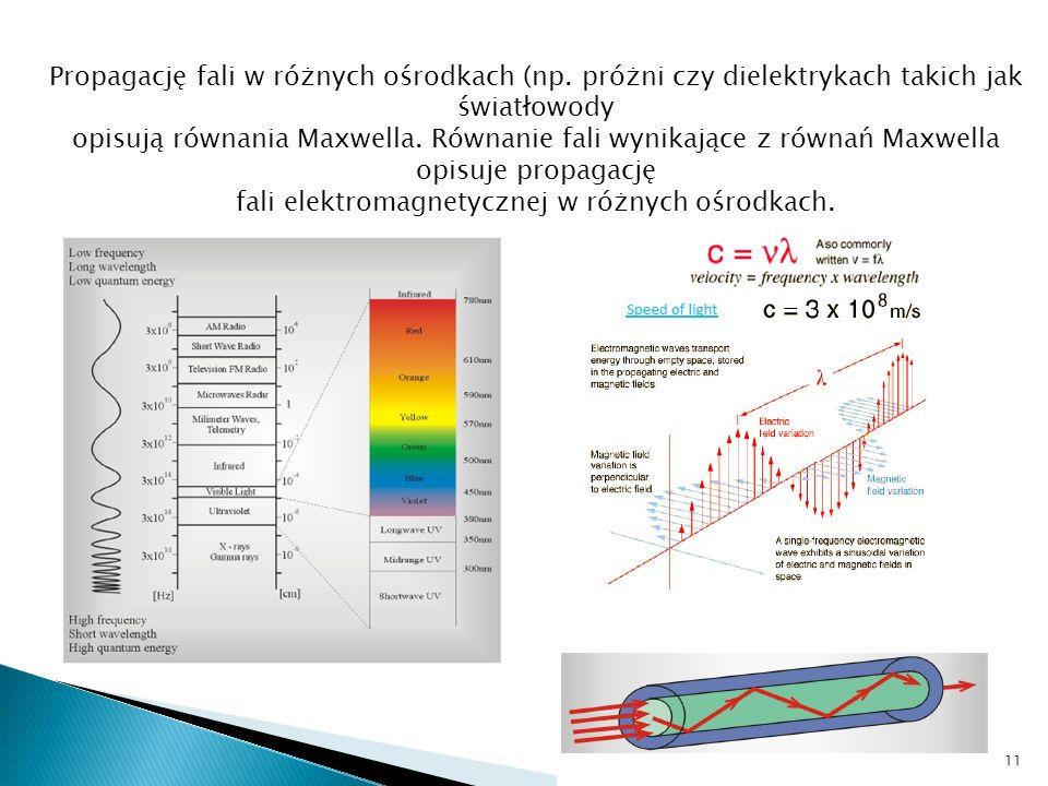 Propagację fali w różnych ośrodkach (np. próżni czy dielektrykach takich jak światłowody opisują równania Maxwella. Równanie fali wynikające z równań