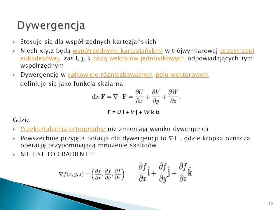 Stosuje się dla współrzędnych kartezjańskich Niech x,y,z będą współrzędnymi kartezjańskmi w trójwymiarowej przestrzeni euklidesowej, zaś I, j, k bazą
