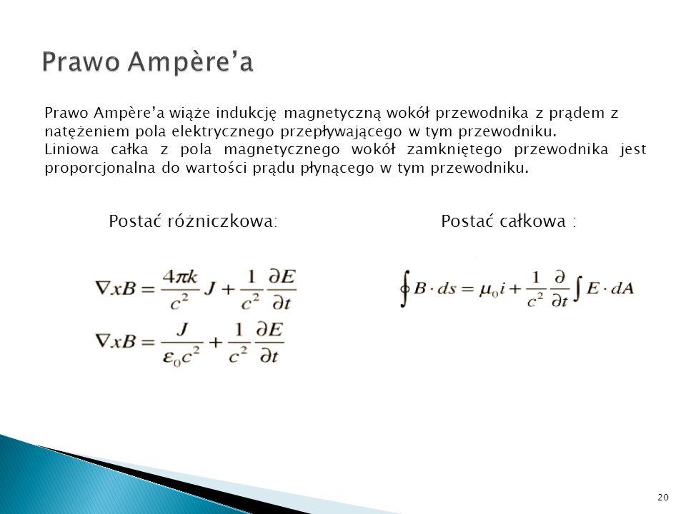 Prawo Ampèrea wiąże indukcję magnetyczną wokół przewodnika z prądem z natężeniem pola elektrycznego przepływającego w tym przewodniku. Liniowa całka z