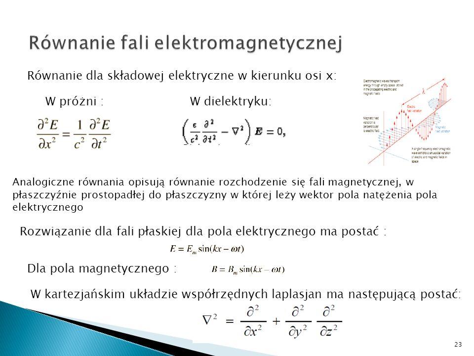 Równanie dla składowej elektryczne w kierunku osi x: W próżni :W dielektryku: Analogiczne równania opisują równanie rozchodzenie się fali magnetycznej