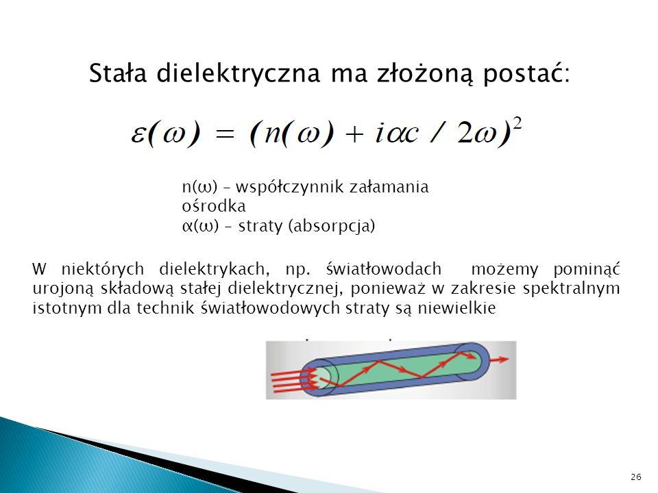 Stała dielektryczna ma złożoną postać: n(ω) – współczynnik załamania ośrodka α(ω) – straty (absorpcja) W niektórych dielektrykach, np. światłowodach m