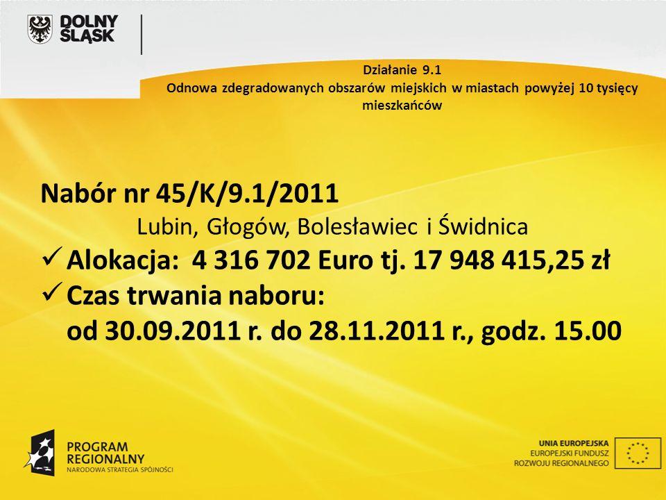 Nabór nr 45/K/9.1/2011 Lubin, Głogów, Bolesławiec i Świdnica Alokacja: 4 316 702 Euro tj. 17 948 415,25 zł Czas trwania naboru: od 30.09.2011 r. do 28
