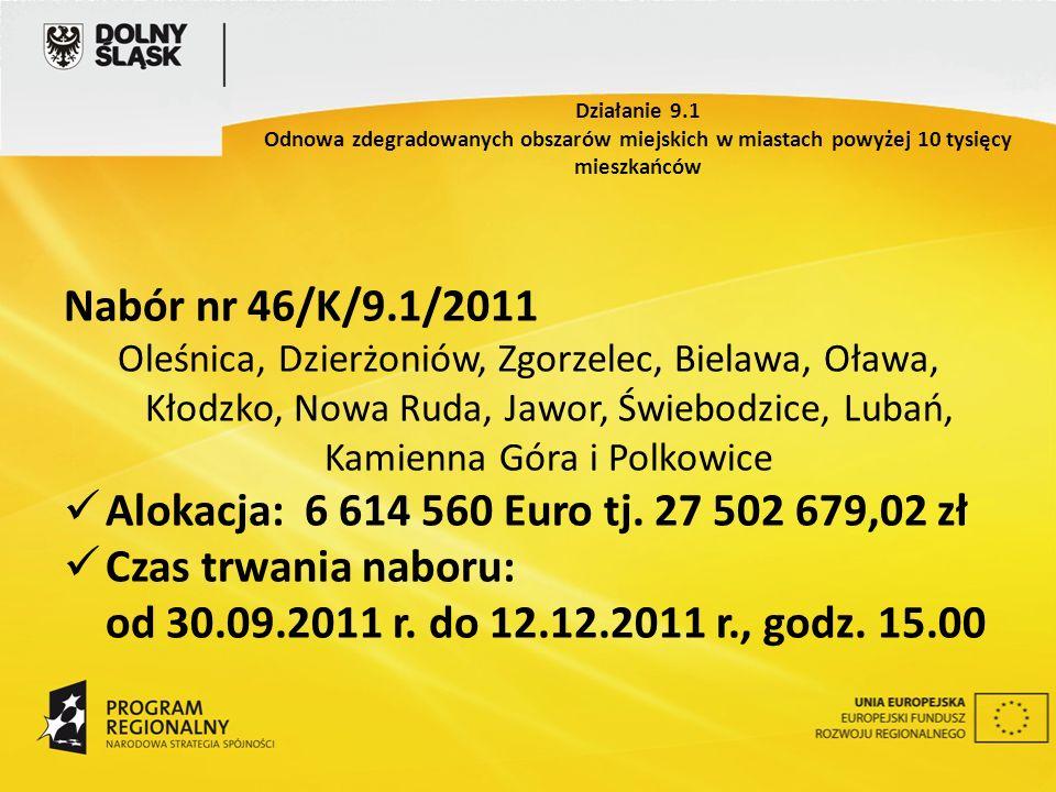 Nabór nr 46/K/9.1/2011 Oleśnica, Dzierżoniów, Zgorzelec, Bielawa, Oława, Kłodzko, Nowa Ruda, Jawor, Świebodzice, Lubań, Kamienna Góra i Polkowice Alokacja: 6 614 560 Euro tj.