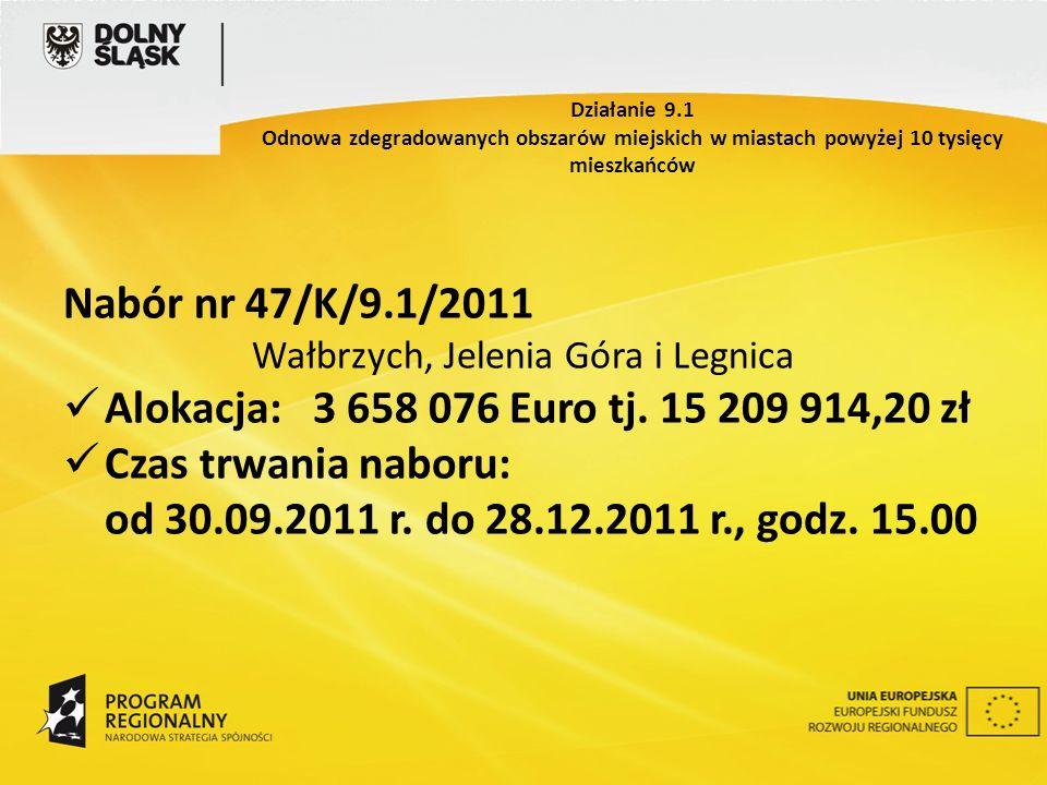 Nabór nr 47/K/9.1/2011 Wałbrzych, Jelenia Góra i Legnica Alokacja: 3 658 076 Euro tj. 15 209 914,20 zł Czas trwania naboru: od 30.09.2011 r. do 28.12.