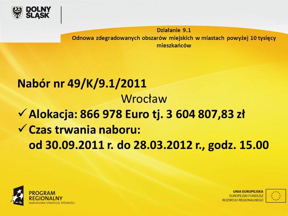 Nabór nr 49/K/9.1/2011 Wrocław Alokacja: 866 978 Euro tj. 3 604 807,83 zł Czas trwania naboru: od 30.09.2011 r. do 28.03.2012 r., godz. 15.00 Działani
