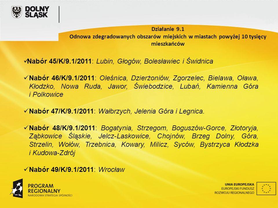 Nabór 45/K/9.1/2011: Lubin, Głogów, Bolesławiec i Świdnica Nabór 46/K/9.1/2011: Oleśnica, Dzierżoniów, Zgorzelec, Bielawa, Oława, Kłodzko, Nowa Ruda, Jawor, Świebodzice, Lubań, Kamienna Góra i Polkowice Nabór 47/K/9.1/2011: Wałbrzych, Jelenia Góra i Legnica.
