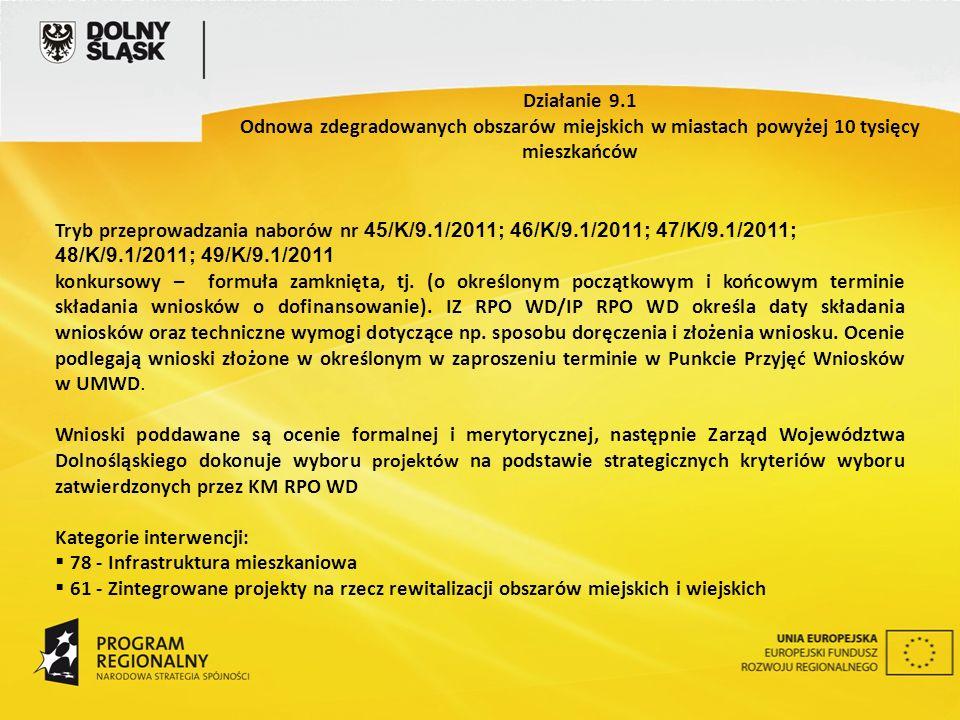 Tryb przeprowadzania naborów nr 45/K/9.1/2011; 46/K/9.1/2011; 47/K/9.1/2011; 48/K/9.1/2011; 49/K/9.1/2011 konkursowy – formuła zamknięta, tj.