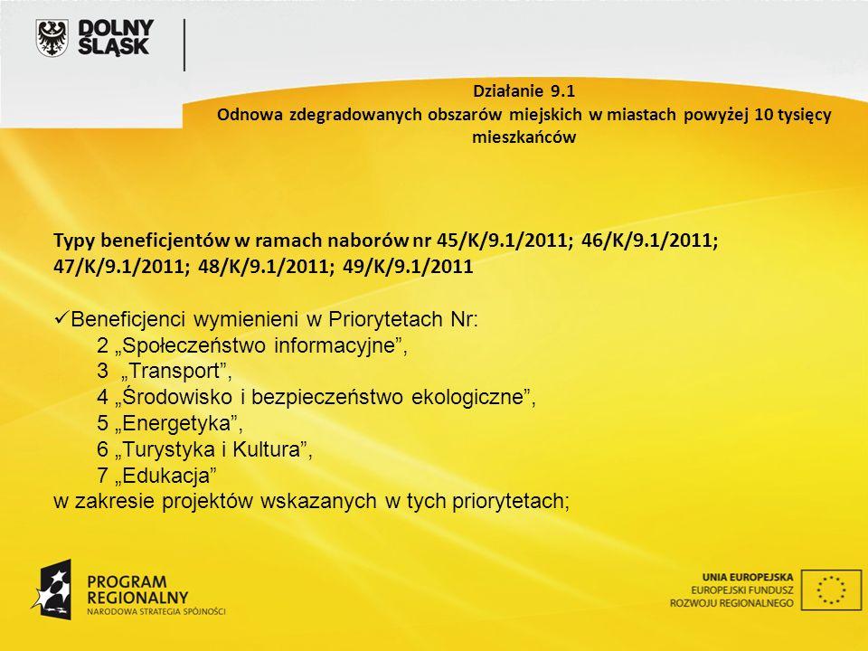Typy beneficjentów w ramach naborów nr 45/K/9.1/2011; 46/K/9.1/2011; 47/K/9.1/2011; 48/K/9.1/2011; 49/K/9.1/2011 Beneficjenci wymienieni w Priorytetach Nr: 2 Społeczeństwo informacyjne, 3 Transport, 4 Środowisko i bezpieczeństwo ekologiczne, 5 Energetyka, 6 Turystyka i Kultura, 7 Edukacja w zakresie projektów wskazanych w tych priorytetach; Działanie 9.1 Odnowa zdegradowanych obszarów miejskich w miastach powyżej 10 tysięcy mieszkańców