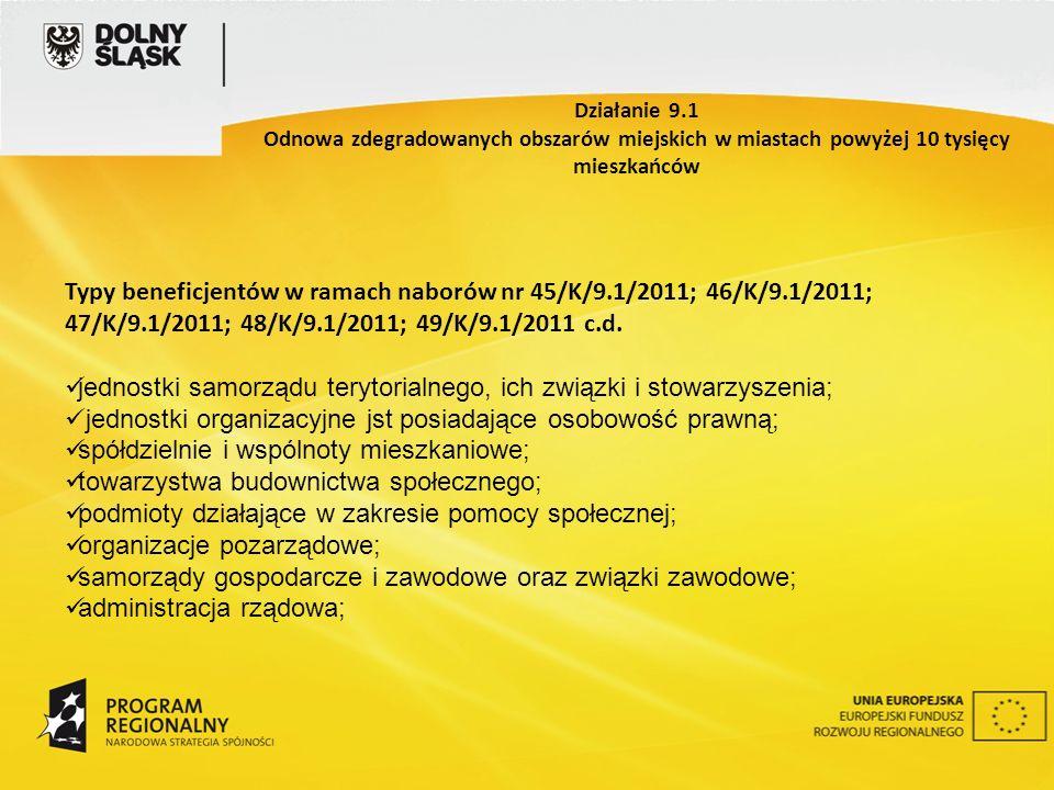 Typy beneficjentów w ramach naborów nr 45/K/9.1/2011; 46/K/9.1/2011; 47/K/9.1/2011; 48/K/9.1/2011; 49/K/9.1/2011 c.d.
