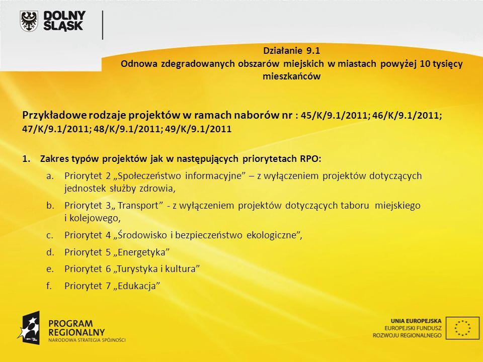 Przykładowe rodzaje projektów w ramach naborów nr : 45/K/9.1/2011; 46/K/9.1/2011; 47/K/9.1/2011; 48/K/9.1/2011; 49/K/9.1/2011 1.Zakres typów projektów jak w następujących priorytetach RPO: a.Priorytet 2 Społeczeństwo informacyjne – z wyłączeniem projektów dotyczących jednostek służby zdrowia, b.Priorytet 3 Transport - z wyłączeniem projektów dotyczących taboru miejskiego i kolejowego, c.Priorytet 4 Środowisko i bezpieczeństwo ekologiczne, d.Priorytet 5 Energetyka e.Priorytet 6 Turystyka i kultura f.Priorytet 7 Edukacja Działanie 9.1 Odnowa zdegradowanych obszarów miejskich w miastach powyżej 10 tysięcy mieszkańców