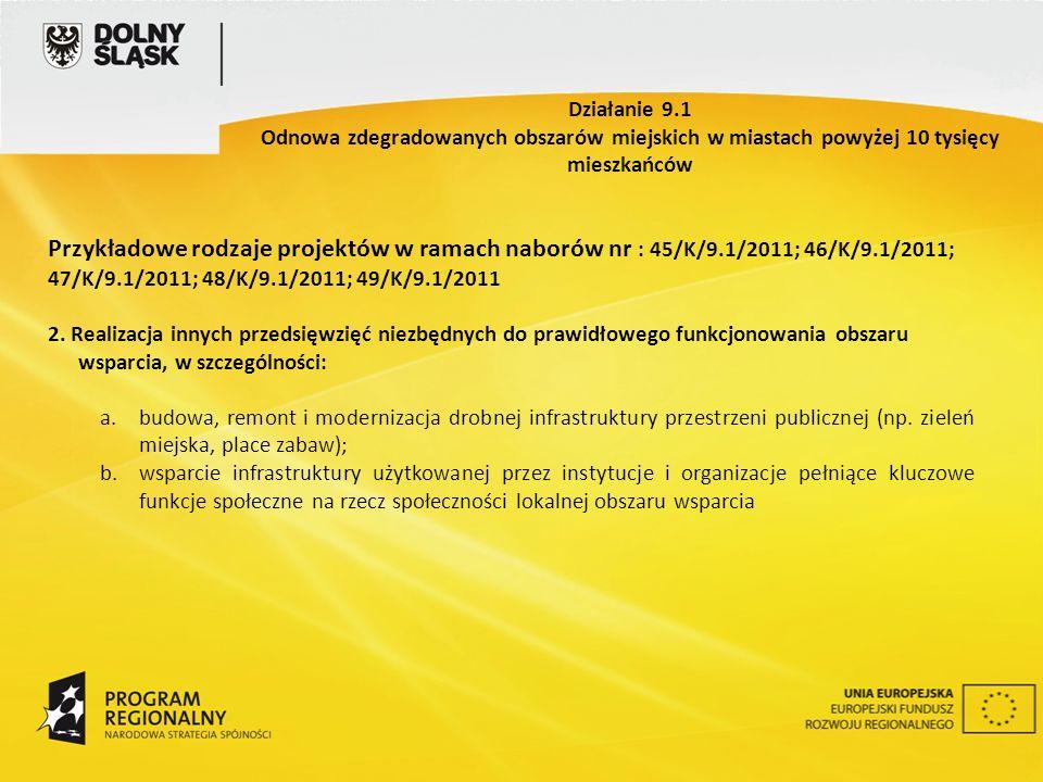 Przykładowe rodzaje projektów w ramach naborów nr : 45/K/9.1/2011; 46/K/9.1/2011; 47/K/9.1/2011; 48/K/9.1/2011; 49/K/9.1/2011 2. Realizacja innych prz