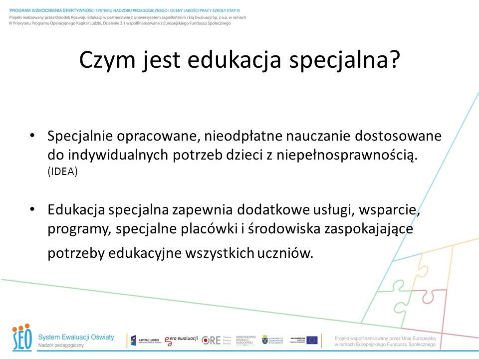 Indywidualizacja metod nauczania a edukacja specjalna Edukacja specjalna to zmiana lub dostosowanie środowiska edukacyjnego.