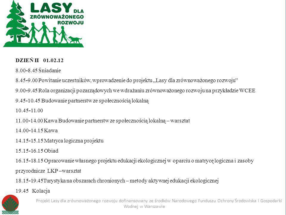 Kliknij, aby edytować styl Projekt Lasy dla zrównoważonego rozwoju dofinansowany ze środków Narodowego Funduszu Ochrony Środowiska i Gospodarki Wodnej w Warszawie Imię i nazwisko Projekt Lasy dla zrównoważonego rozwoju dofinansowany ze środków Narodowego Funduszu Ochrony Środowiska i Gospodarki Wodnej w Warszawie DZIEŃ III 02.02.12 7.00-7.30Śniadanie 7.45 -16.45Zajęcia terenowe – zwiedzanie Leśnego Kompleksu Promocyjnego Lasy Gostynińsko- Włocławskie -wycieczka autokarowa