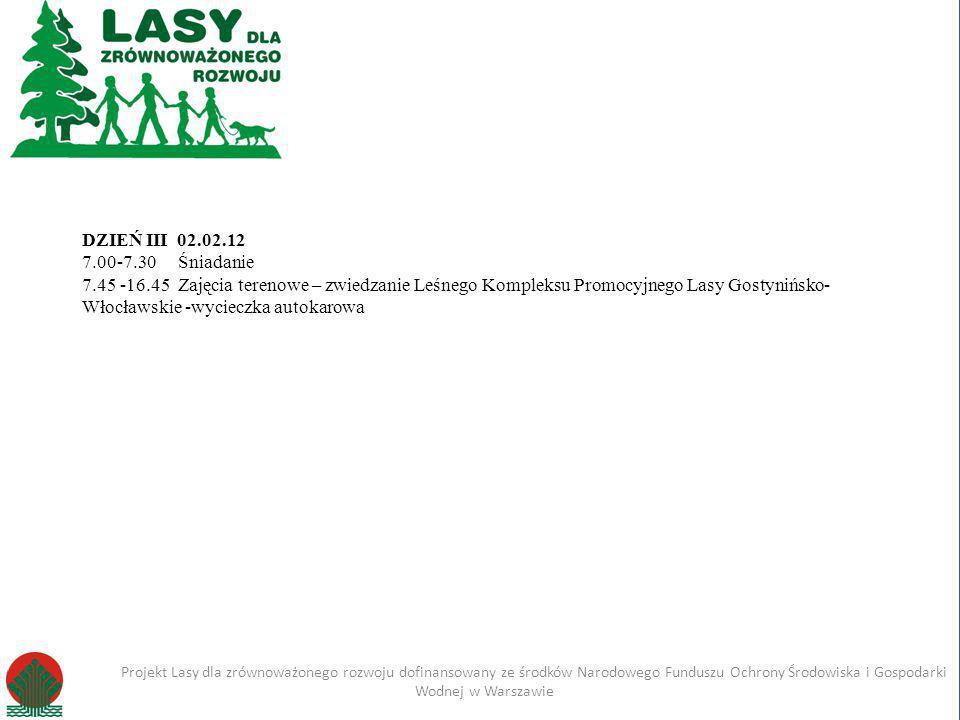 Kliknij, aby edytować styl Projekt Lasy dla zrównoważonego rozwoju dofinansowany ze środków Narodowego Funduszu Ochrony Środowiska i Gospodarki Wodnej w Warszawie Imię i nazwisko Projekt Lasy dla zrównoważonego rozwoju dofinansowany ze środków Narodowego Funduszu Ochrony Środowiska i Gospodarki Wodnej w Warszawie DZIEŃ I 8.30-9.00Rejestracja uczestników 9.00 – 9.15Powitanie uczestników, prezentacja projektu 9.15-10.15Formy ochrony środowiska, przyrody i krajobrazu.