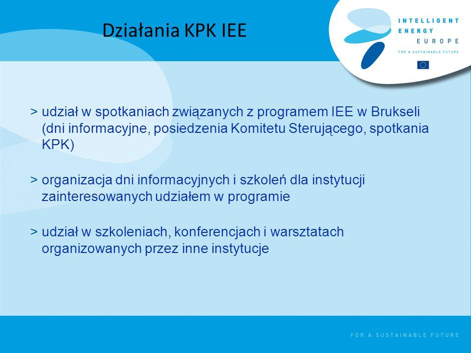 >udział w spotkaniach związanych z programem IEE w Brukseli (dni informacyjne, posiedzenia Komitetu Sterującego, spotkania KPK) >organizacja dni informacyjnych i szkoleń dla instytucji zainteresowanych udziałem w programie >udział w szkoleniach, konferencjach i warsztatach organizowanych przez inne instytucje Działania KPK IEE
