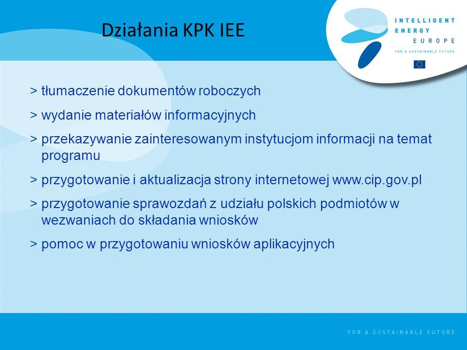 >tłumaczenie dokumentów roboczych >wydanie materiałów informacyjnych >przekazywanie zainteresowanym instytucjom informacji na temat programu >przygotowanie i aktualizacja strony internetowej www.cip.gov.pl >przygotowanie sprawozdań z udziału polskich podmiotów w wezwaniach do składania wniosków >pomoc w przygotowaniu wniosków aplikacyjnych Działania KPK IEE