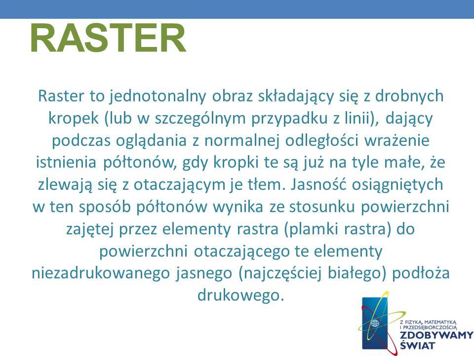 RASTER Raster to jednotonalny obraz składający się z drobnych kropek (lub w szczególnym przypadku z linii), dający podczas oglądania z normalnej odleg