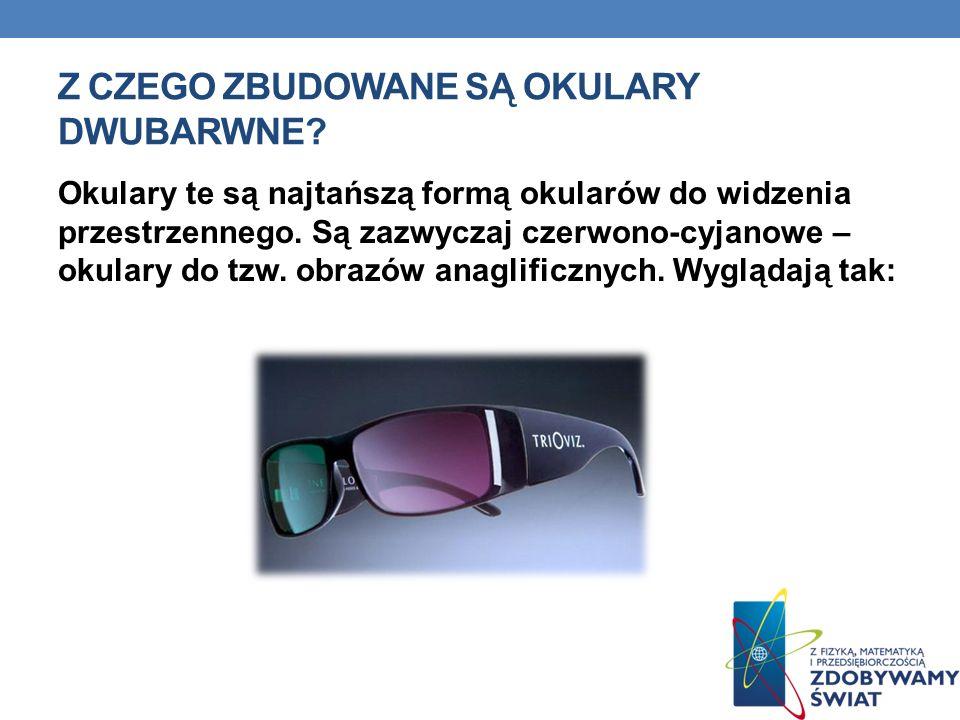 Z CZEGO ZBUDOWANE SĄ OKULARY DWUBARWNE? Okulary te są najtańszą formą okularów do widzenia przestrzennego. Są zazwyczaj czerwono-cyjanowe – okulary do