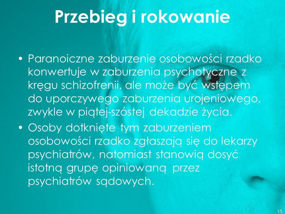 Przebieg i rokowanie Paranoiczne zaburzenie osobowości rzadko konwertuje w zaburzenia psychotyczne z kręgu schizofrenii, ale może być wstępem do uporc