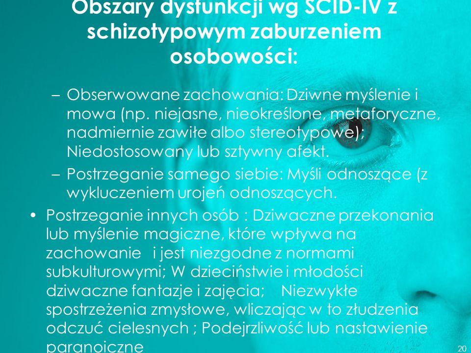 Obszary dysfunkcji wg SCID-IV z schizotypowym zaburzeniem osobowości: –Obserwowane zachowania: Dziwne myślenie i mowa (np. niejasne, nieokreślone, met