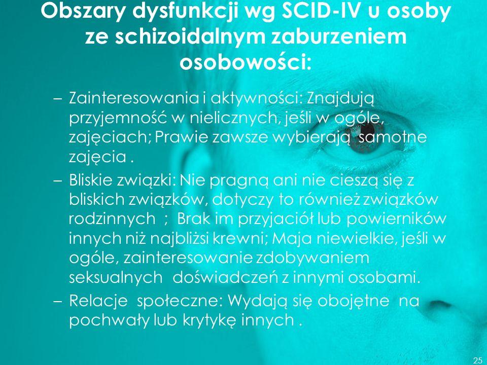Obszary dysfunkcji wg SCID-IV u osoby ze schizoidalnym zaburzeniem osobowości: –Zainteresowania i aktywności: Znajdują przyjemność w nielicznych, jeśl