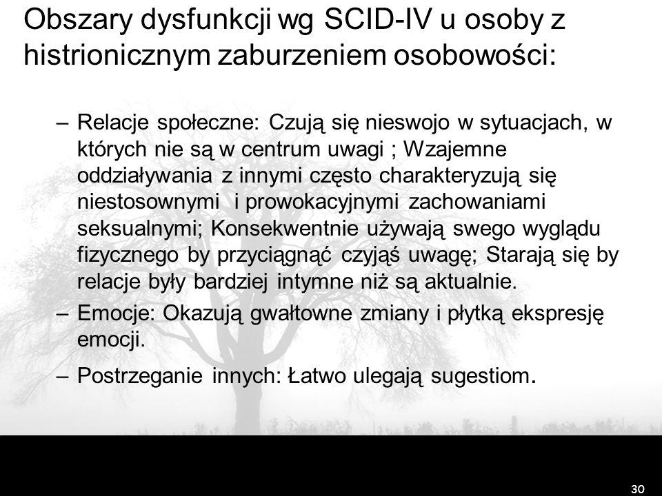 Obszary dysfunkcji wg SCID-IV u osoby z histrionicznym zaburzeniem osobowości: –Relacje społeczne: Czują się nieswojo w sytuacjach, w których nie są w