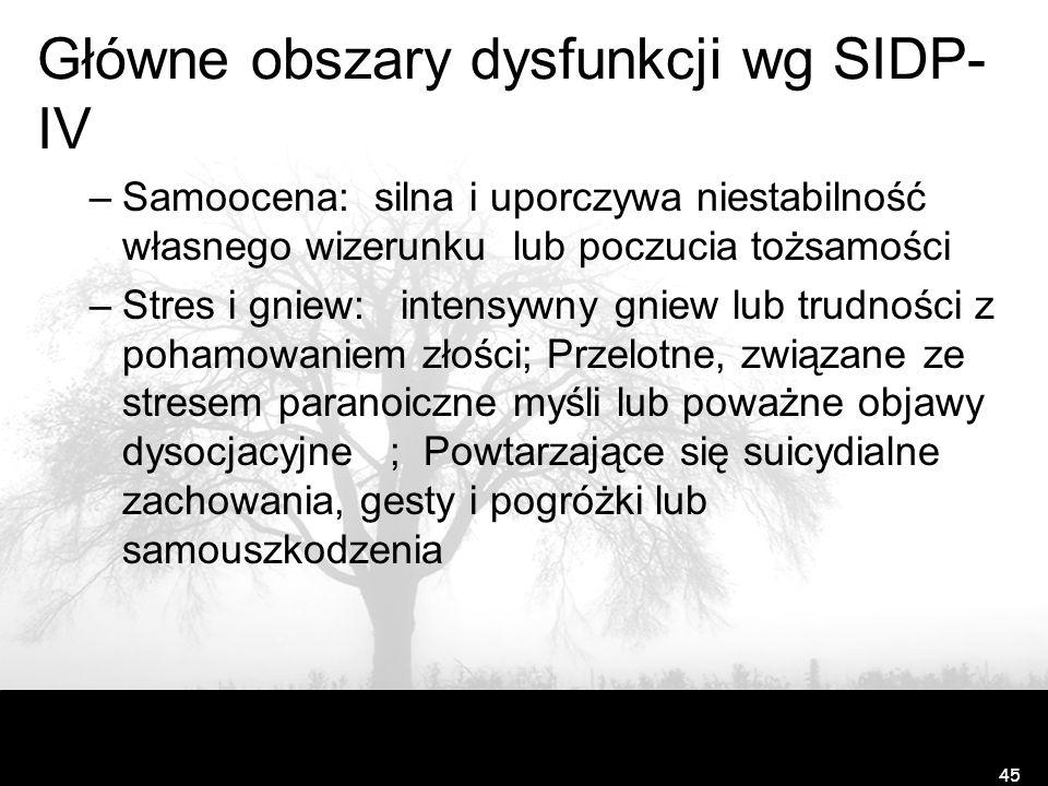 Główne obszary dysfunkcji wg SIDP- IV –Samoocena: silna i uporczywa niestabilność własnego wizerunku lub poczucia tożsamości –Stres i gniew: intensywn