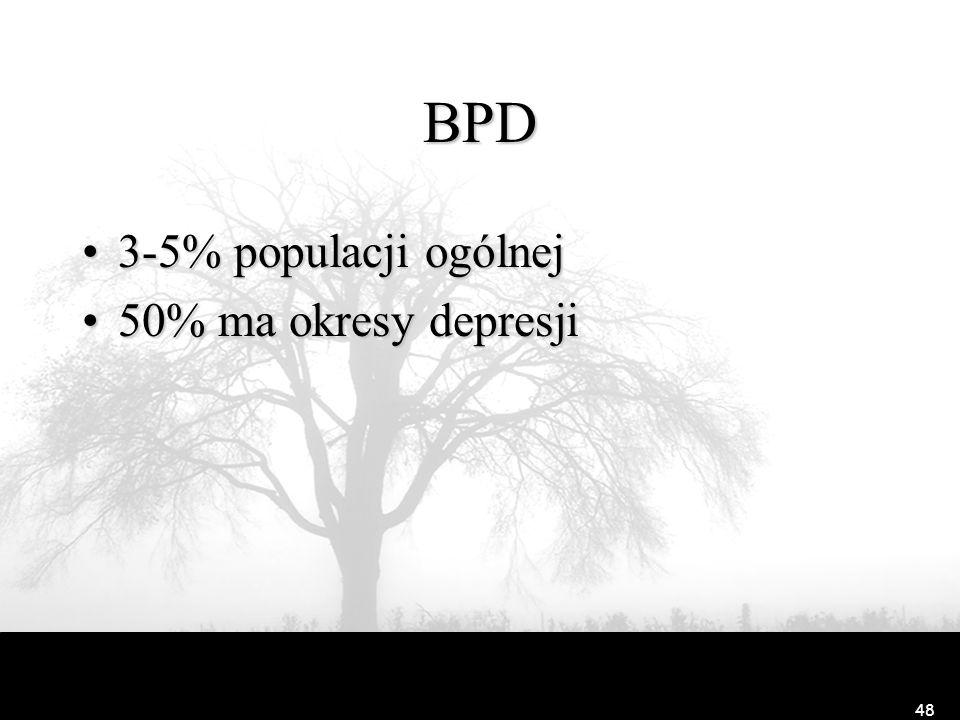 48 BPD 3-5% populacji ogólnej3-5% populacji ogólnej 50% ma okresy depresji50% ma okresy depresji
