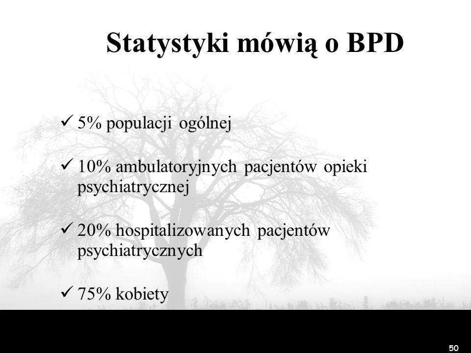 50 Statystyki mówią o BPD 5% populacji ogólnej 10% ambulatoryjnych pacjentów opieki psychiatrycznej 20% hospitalizowanych pacjentów psychiatrycznych 7