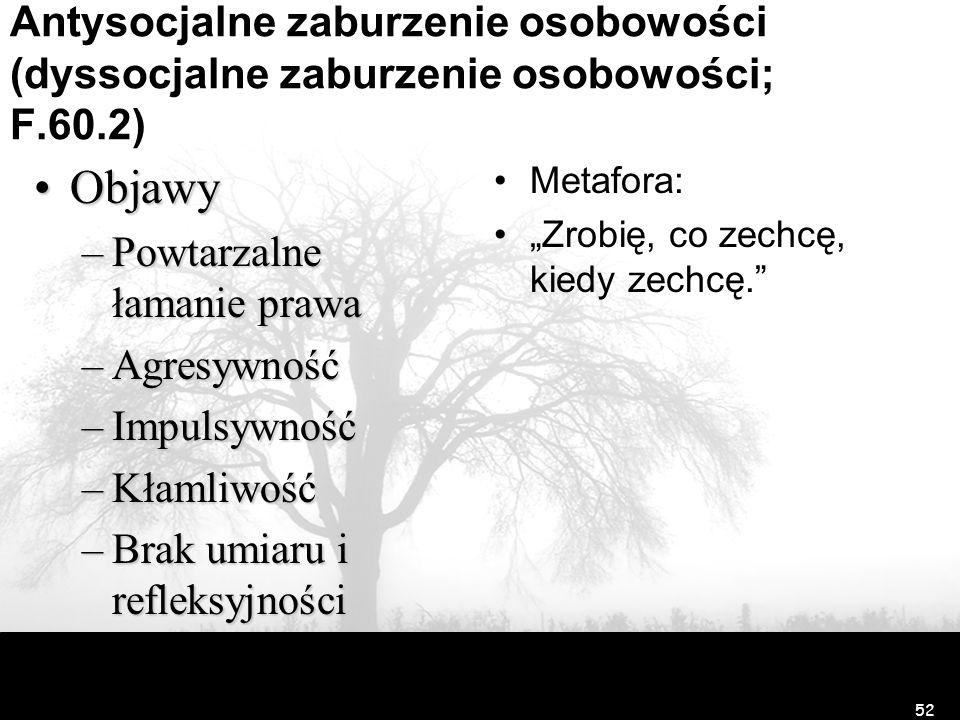 Antysocjalne zaburzenie osobowości (dyssocjalne zaburzenie osobowości; F.60.2) ObjawyObjawy –Powtarzalne łamanie prawa –Agresywność –Impulsywność –Kła