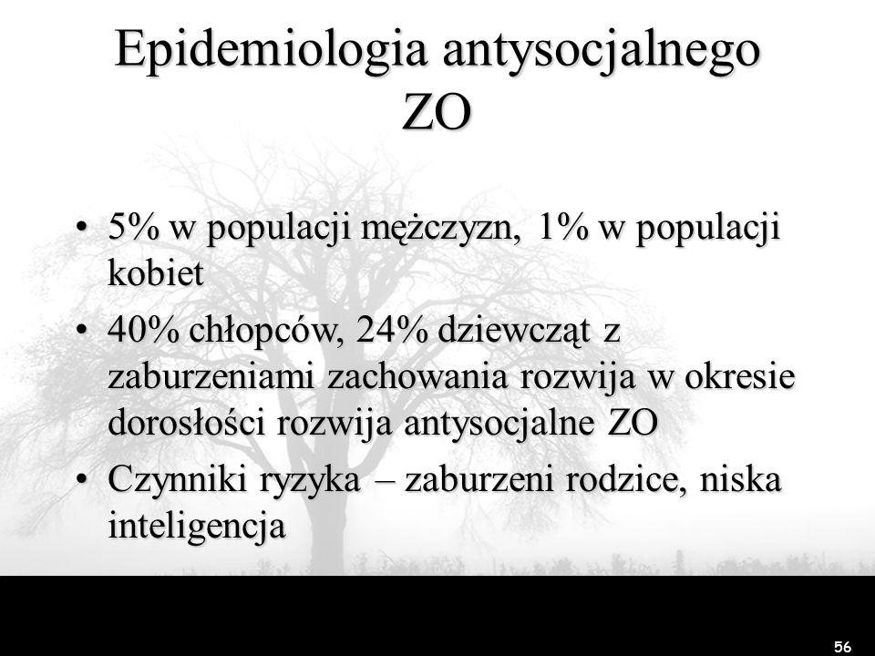 56 Epidemiologia antysocjalnego ZO 5% w populacji mężczyzn, 1% w populacji kobiet5% w populacji mężczyzn, 1% w populacji kobiet 40% chłopców, 24% dzie