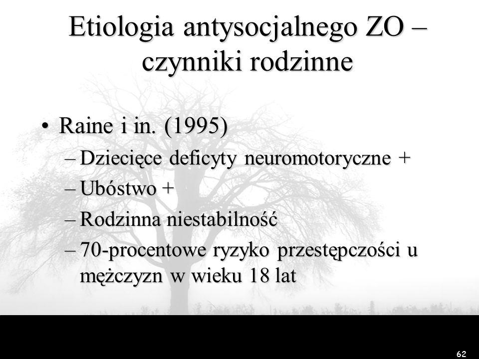 62 Etiologia antysocjalnego ZO – czynniki rodzinne Raine i in. (1995)Raine i in. (1995) –Dziecięce deficyty neuromotoryczne + –Ubóstwo + –Rodzinna nie