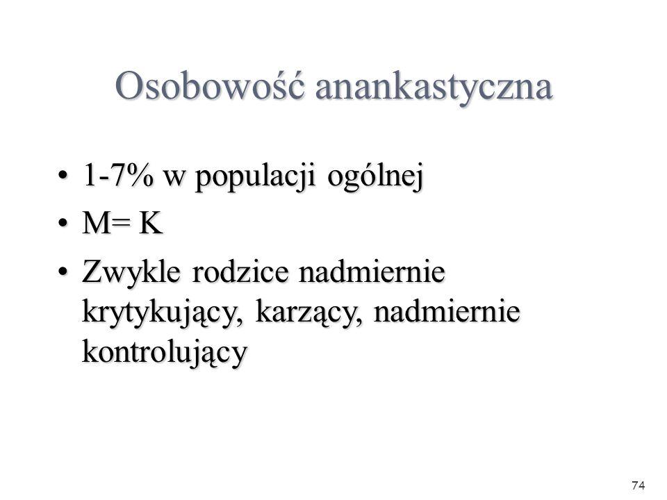 74 Osobowość anankastyczna 1-7% w populacji ogólnej1-7% w populacji ogólnej M= KM= K Zwykle rodzice nadmiernie krytykujący, karzący, nadmiernie kontro