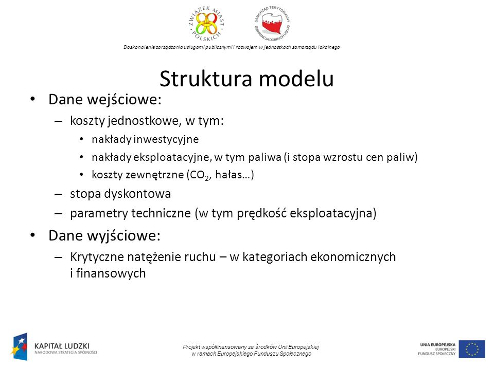Doskonalenie zarządzania usługami publicznymi i rozwojem w jednostkach samorządu lokalnego Projekt współfinansowany ze środków Unii Europejskiej w ramach Europejskiego Funduszu Społecznego Scenariusz bezinwestycyjny – wyniki analizy finansowej